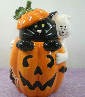 halloween cat cookie jar