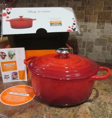 NEW LE CREUSET CAST IRON LIMITED EDITION MICKEY MOUSE DUTCH OVEN RED #24 4.5 Qt