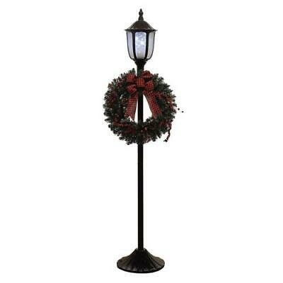 """Christmas Holiday 68"""" Holographic Lamp Porch Post with Wreath LED Indoor Outdoor"""