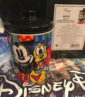 Romero Britto Disney Mickey Mouse Canister Cookie Jar Romero Britto's warmth and optimism shines brightly in this Mickey Mouse canister cookie jar. Unique and colorful patterns of polka dot