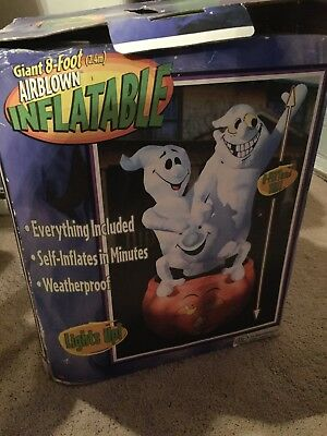 Giant 8 Ft Airblown Inflatable Halloween 3 Ghosts And Pumpkin Gemmy
