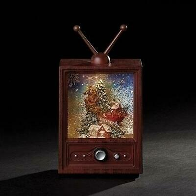 Roman Musical LED TV with Santa In Sleigh over Village