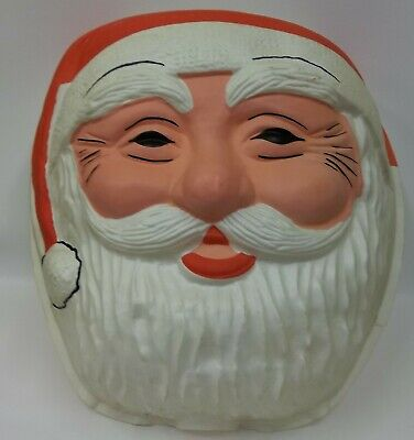 Vintage Large Santa Claus Head Christmas Blow Mold Lamp Post Light Cover Set