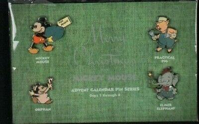 2003 Disney Advent Calendar Pins MICKEY MOUSE ELMER ORPHAN PIG Days 1-4 Set