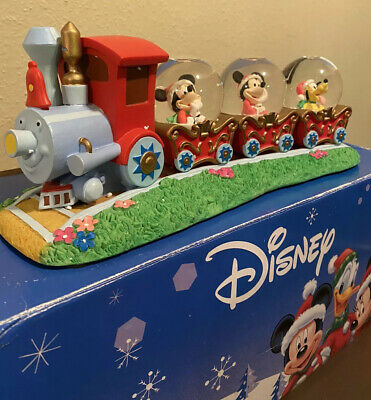 DISNEY CHRISTMAS ORNAMENT SNOW GLOBE 3 CAR TRAIN SET MUSICAL