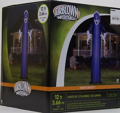 Halloween Gemmy 12 ft Short Circuit Giant Ghastly Ghost Blue Overlay Inflatable