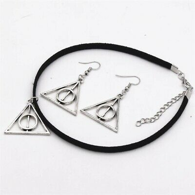 Harry Potter Necklace & Earring Christmas Stocking Filler Deathly Hallows Set
