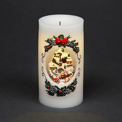 Musical Village Christmas Real Wax Candle Moving Figures Xmas Home Decorations