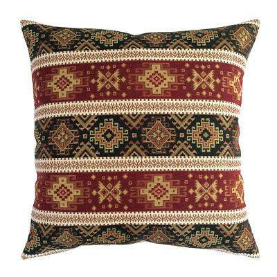 Tapestry Ethnic Burgundy Red Green 22x22 Christmas Tree Decor Pillow Cover Sham