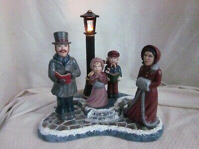 "Vintage Ceramic Mold Christmas Carolers 13"" Lighted Lamp Post 1989"