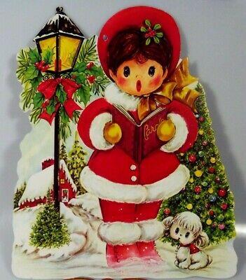 Vintage Girl Caroler Puppy Lamppost Christmas Die Cut Cardboard Decoration Rare
