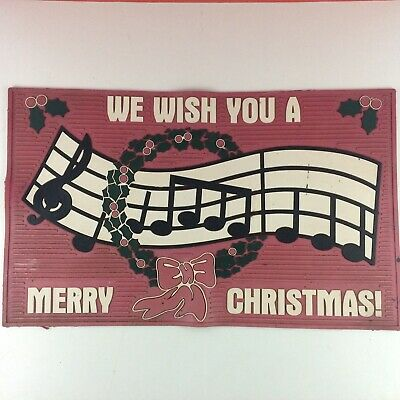 Vintage We Wish You a Merry Christmas Rubber Doormat Wreath Music Notes Decor