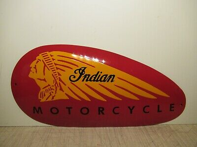 11.5x24 vintage Indian Motorcycle tank size oval Porcelain Gas & Oil Adv. Sign