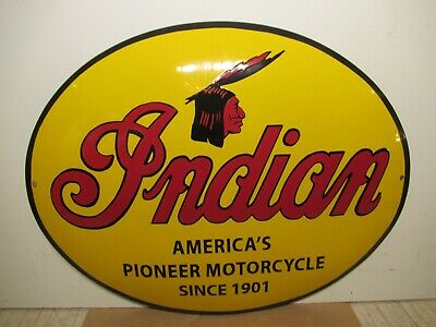 15x20 vintage Indian Motorcycle tank size oval Porcelain Gas & Oil Adv. Sign