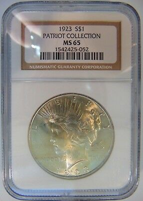 1923 Silver Peace Dollar NGC MS 65 Patriot Collection Pedigree Hoard For Sale