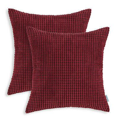 "2Pcs CaliTime Burgundy Pillows Covers Shells Corn Corduroy Striped Sofa 24 x 24"""