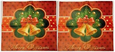 "Cotton Linen Pillow Case Cover Set Of 2, Holiday, Merry Christmas 18"" x 18"" NEW"