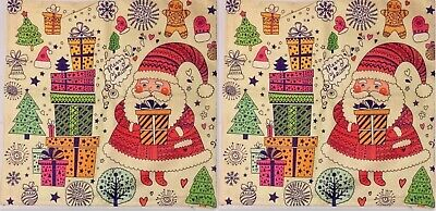 "Cotton Linen Pillow Case Cover Set Of 2, Santa, Holiday, Christmas 18"" x 18"" NEW"
