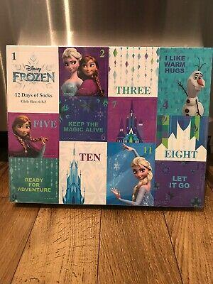FROZEN-12 Days of Socks Christmas Advent Calendar Sz 6-8.5 Kids Socks