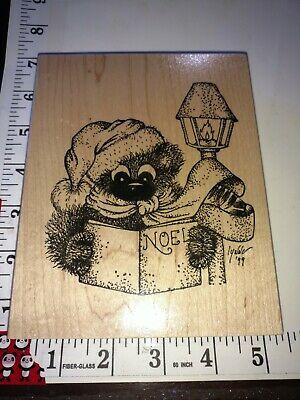Fuzzy bear, Christmas lamppost caroling, Lynne 99, big,210, wooden,rubber,stamp