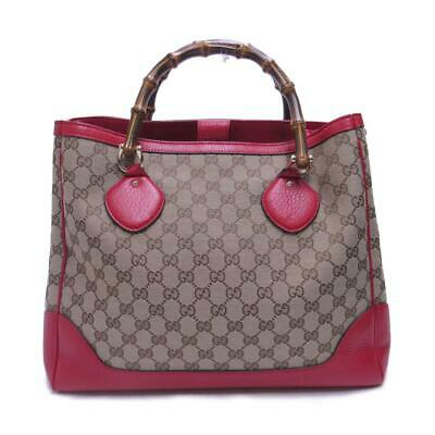 GUCCI Tote Hand bag 282317 Canvas leather Beige Red Used Vintage Ladies