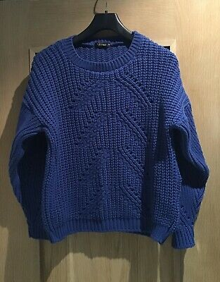 LADIES SOFT ROYAL BLUE CHUNKY THICK CABLE KNIT WINTER JUMPER M 10 12