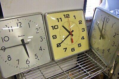Lot of 4 Vintage Simplex Aluminum Square School Slave Clocks ~ untested as is
