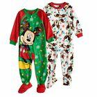 NWT ☀FLEECE☀ DISNEY 2 BLANKET SLEEPERS Pajamas MICKEY MOUSE CHRISTMAS 3T $40