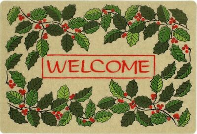 "OUTDOOR DOORMAT W/COIR (18""x27"") CHRISTMAS,LEAVES & HOLLY BERRIES,WELCOME,MOHAWK"