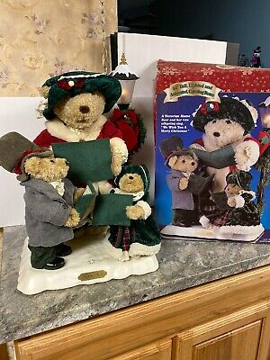 "Rare 24"" LARGE ANIMATED Victorian CHRISTMAS Caroling BEAR SING Light Lamppost"