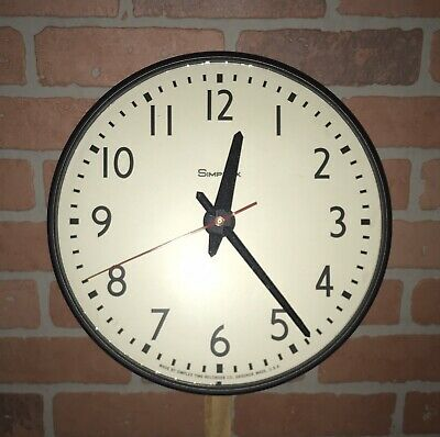 """Vintage 13"""" Simplex Glass Dome Office Industrial School Wall Clock Works Perfect"""