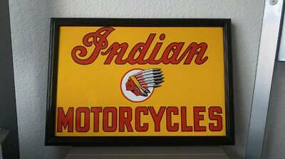 VINTAGE INDIAN MOTORCYCLES PORCELAIN SIGN 12x8.5s