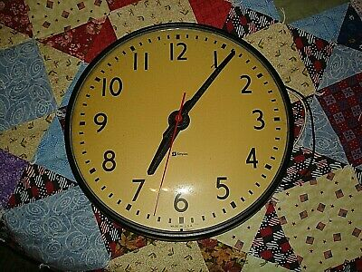 """Vintage Simplex Glass Dome School Wall Clock Untested 12 & 3/4"""" NO Base"""