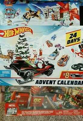 2019-3 24 Day Advent Calendars-1 Hot Wheels,1 Cars Mini Racers,1 Paw Patrol-3+