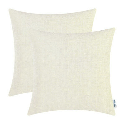 """2Pcs Cream Cushion Covers Pillow Shells Solid Dyed Soft Chenille Sofa Car 22x22"""""""