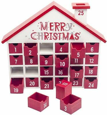 Christmas Wooden Advent Calendar with 25 Drawers Christmas House Storage Box NEW