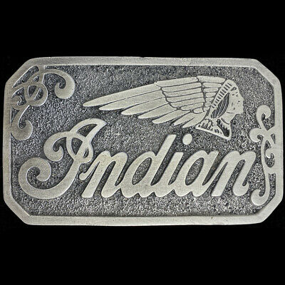 Indian Motorcycle Motocycle Scout Laughing Chief Biker 70s NOS Vtg Belt Buckle