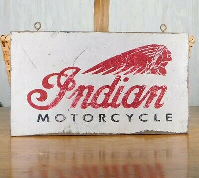 PRIMITIVE VINTAGE INDIAN MOTORCYCLE REPLICA TRADE SIGN - INDIAN HEAD