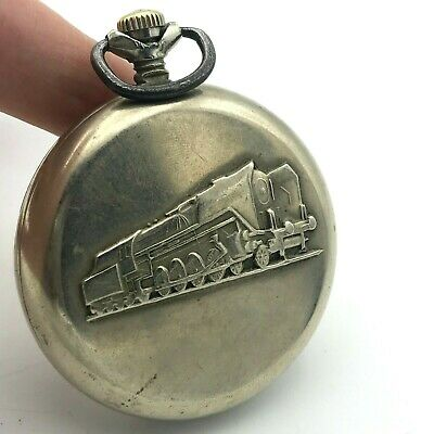 Vintage Pocket Watch MOLNIJA Locomotive Train Mechanical Rare USSR Quality Mark