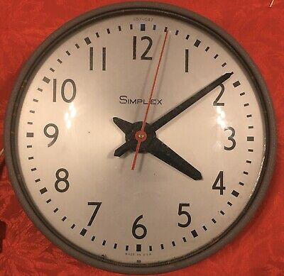 Vintage Simplex Industrial School Office Factory Clock Excel Cond. 504-047 MCM