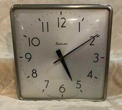 "VTG Simplex 12"" Square Slave Metal Wall Clock Industrial Mid Century School"