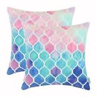 2Pcs CaliTime Pillow Cases Covers Shell Couch Bed Sofa Geometric Chains 22x22 in