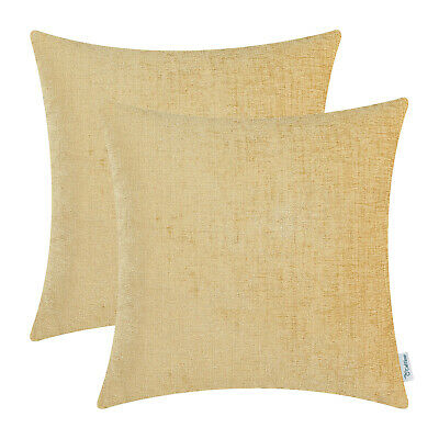 2Pcs Gold Cushion Covers Pillow Shell Solid Dyed Soft Home Chenille 22x22Inches