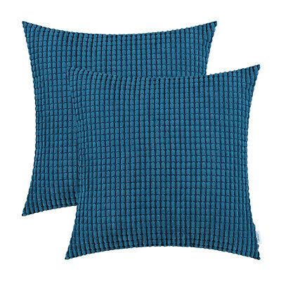 "2Pcs Sea Blue Throw Pillows Covers Corn Soft Corduroy Striped Sofa Decor 22x22"""