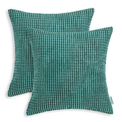"2Pcs Teal Cozy Throw Pillows Covers Shells Corn Soft Corduroy Striped Car 22x22"""