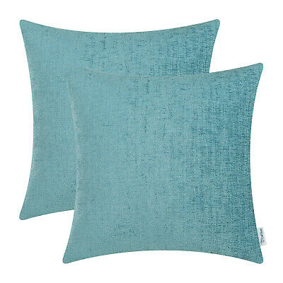 """2Pcs Teal Cushion Covers Pillow Shell Solid Dyed Soft Home Chenille Decor 22x22"""""""