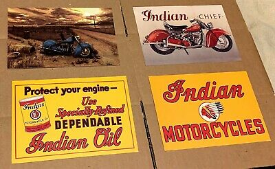 4x INDIAN Motorcycle Postcard PACK Vintage Motorcycle AD Lot ADVERTISING Card