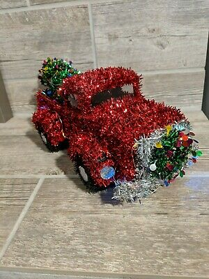 """Christmas Tinsel RED TRUCK With CHRISTMAS TREE Tinsel Lighted Decor 15"""" x 7"""""""