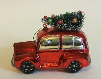 Glass Red Car with Christmas Tree on Top Ornament
