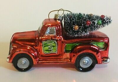 Glass Red Pickup Truck with Christmas Tree Ornament